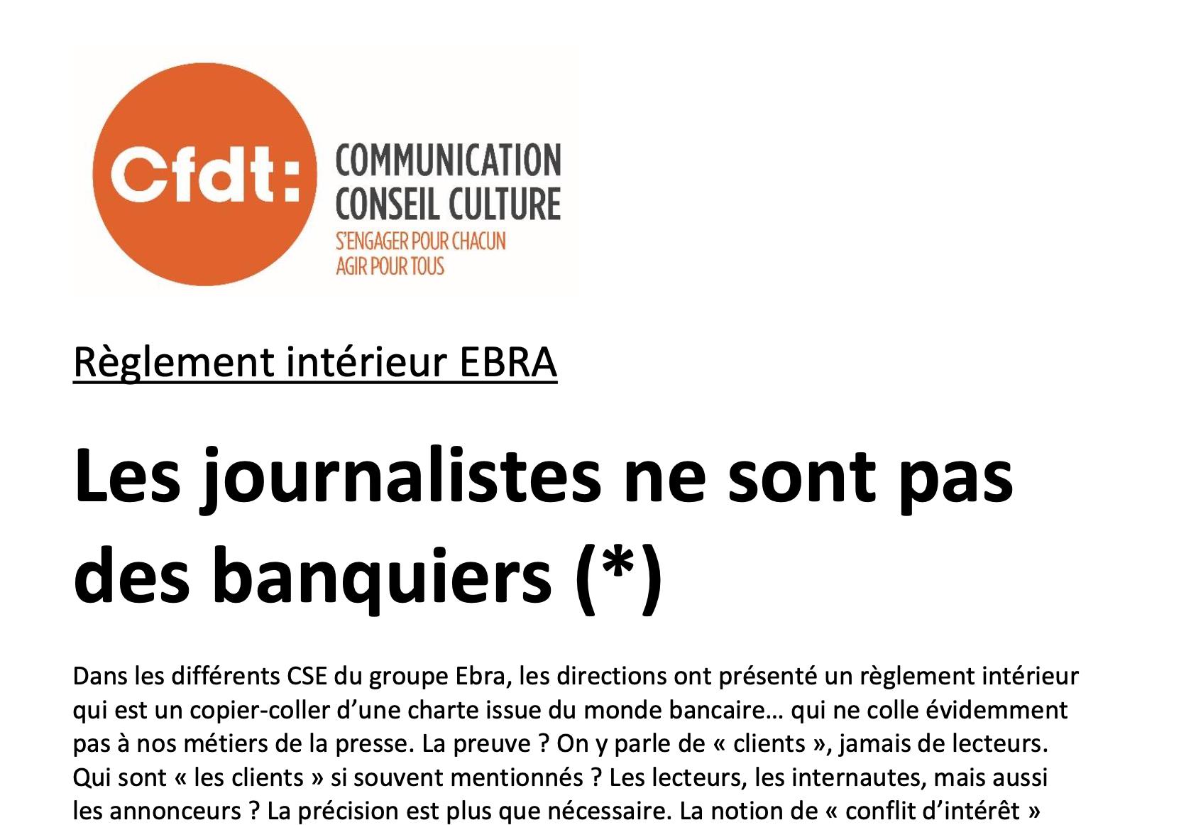 Le groupe EBRA confond règlement intérieur et charte déontologique