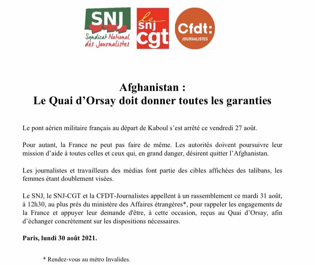 Journalistes afghans : Rassemblement de soutien mardi 31 août à 12h30 à Paris